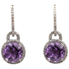 1970s Amethyst and Diamond Drop Earrings 14 Karat White Gold