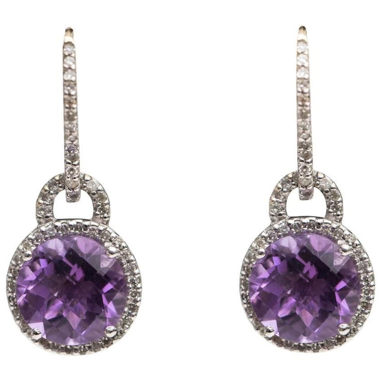 1970s Amethyst and Diamond Drop Earrings 14 Karat White Gold