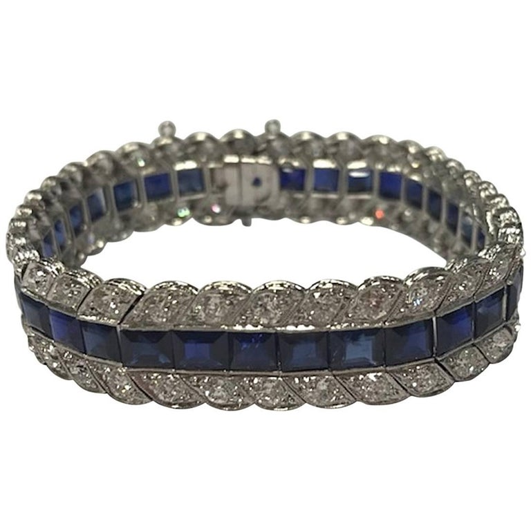 Platinum Blue Sapphire Round Diamond Bracelet