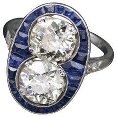 Platinum, Sapphires and Diamonds French Art Deco Toi & Moi