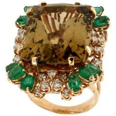 Yellow Gold 18 karat Diamonds Emeralds Citrine Cocktail Ring