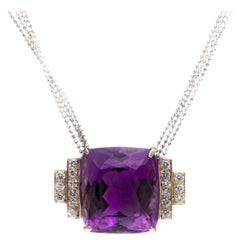 1950s 20 Carat Amethyst and 1 Carat Diamond 14 Karat Gold Necklace