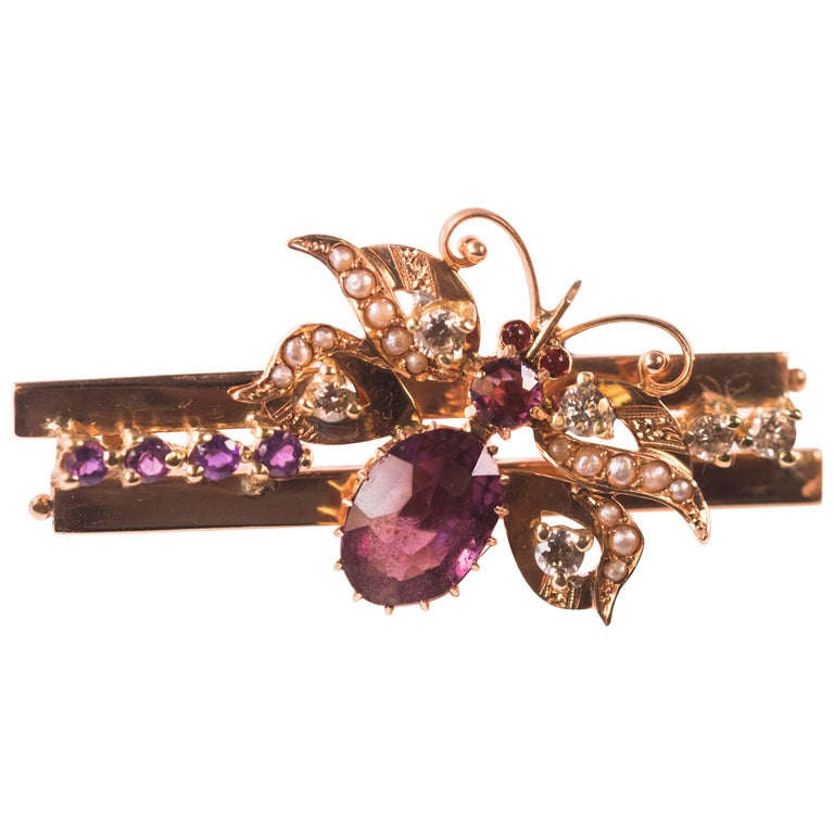 1930s 0.55 Carat Diamond, Ruby, Pearl and Amethyst Butterfly Pendant, Rose Gold For Sale