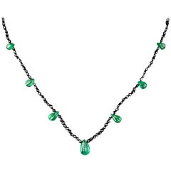 Necklace with Diamond and Gadrooned Pear Shape Emeralds