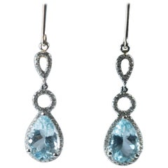 5 Carat Blue Topaz and 0.40 Carat Diamond 18 Karat White Gold Drop Earrings