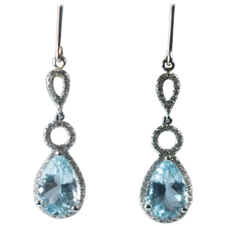 5 Carat Blue Topaz and 0.40 Carat Diamond 18 Karat White Gold Drop Earrings