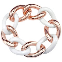 White Agate Groumette Bracelet 18 Karat Rose Gold