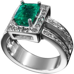 Contemporary Colombian Emerald and Diamond Ring