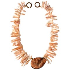 Biwa Pearl Druzy Agate Necklace Gold Filled