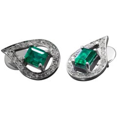 Colombian Emerald and Diamond Earrings