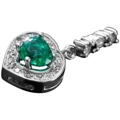 Colombian Emerald and Diamond Pendant Set in White Gold