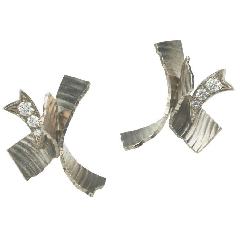 Annabel Eley Textured White Gold Diamond Earrings
