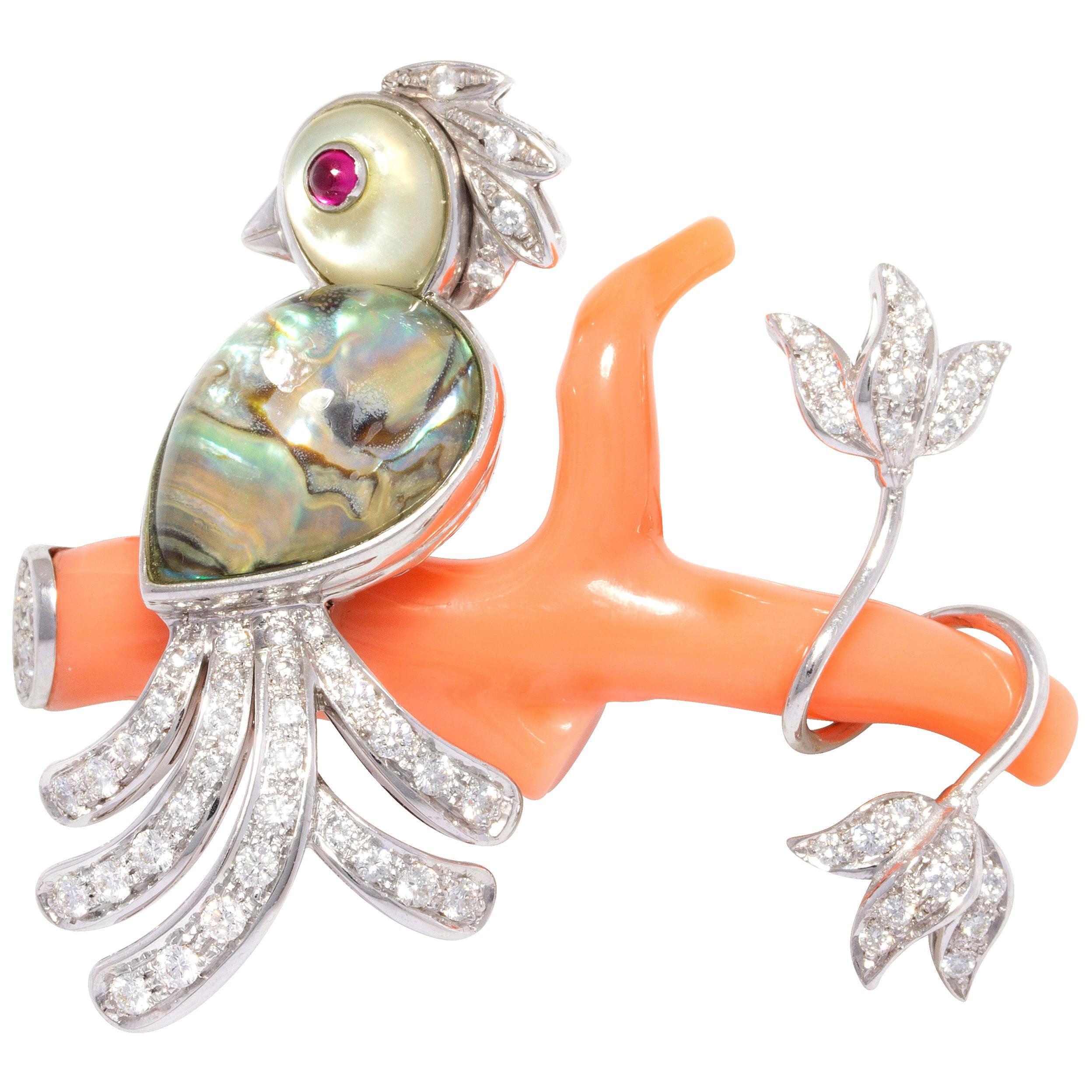 Ella Gafter Love Bird Diamond Pin Brooch