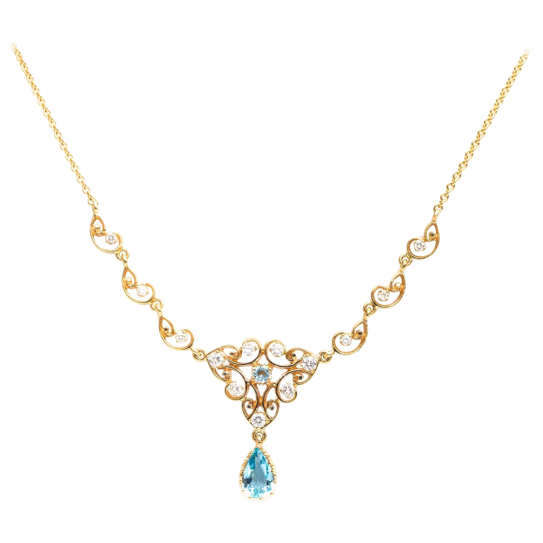 1950s 2 Carat Aquamarine and 0.75 Carat Diamond 14 Karat Gold Necklace