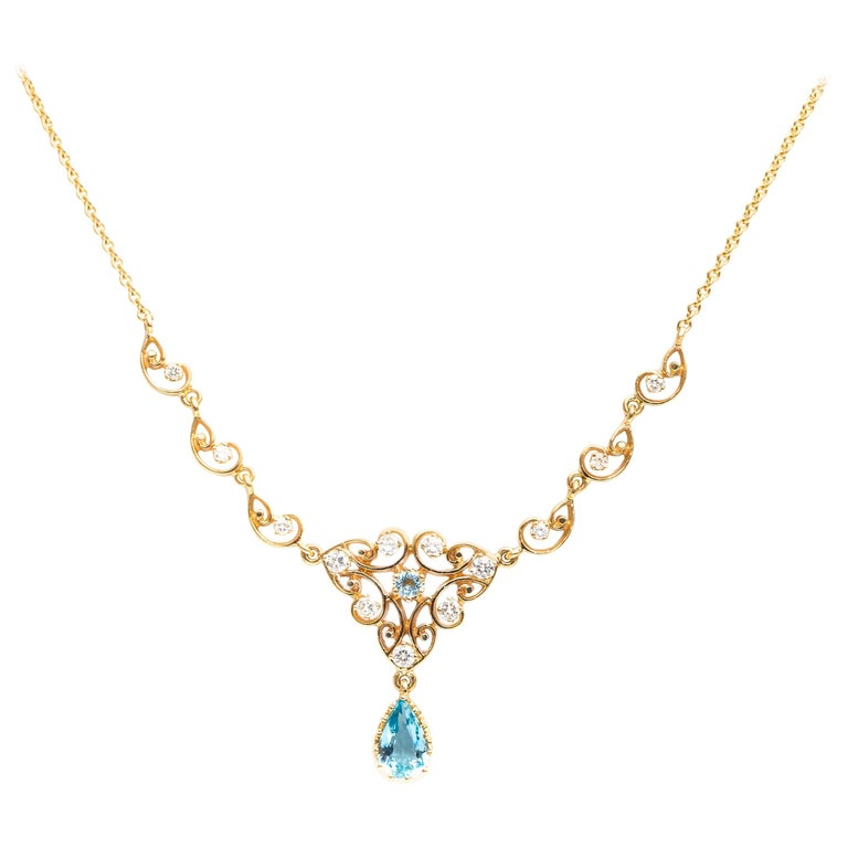 1950s 2 Carat Aquamarine and 0.75 Carat Diamond 14 Karat Gold Necklace