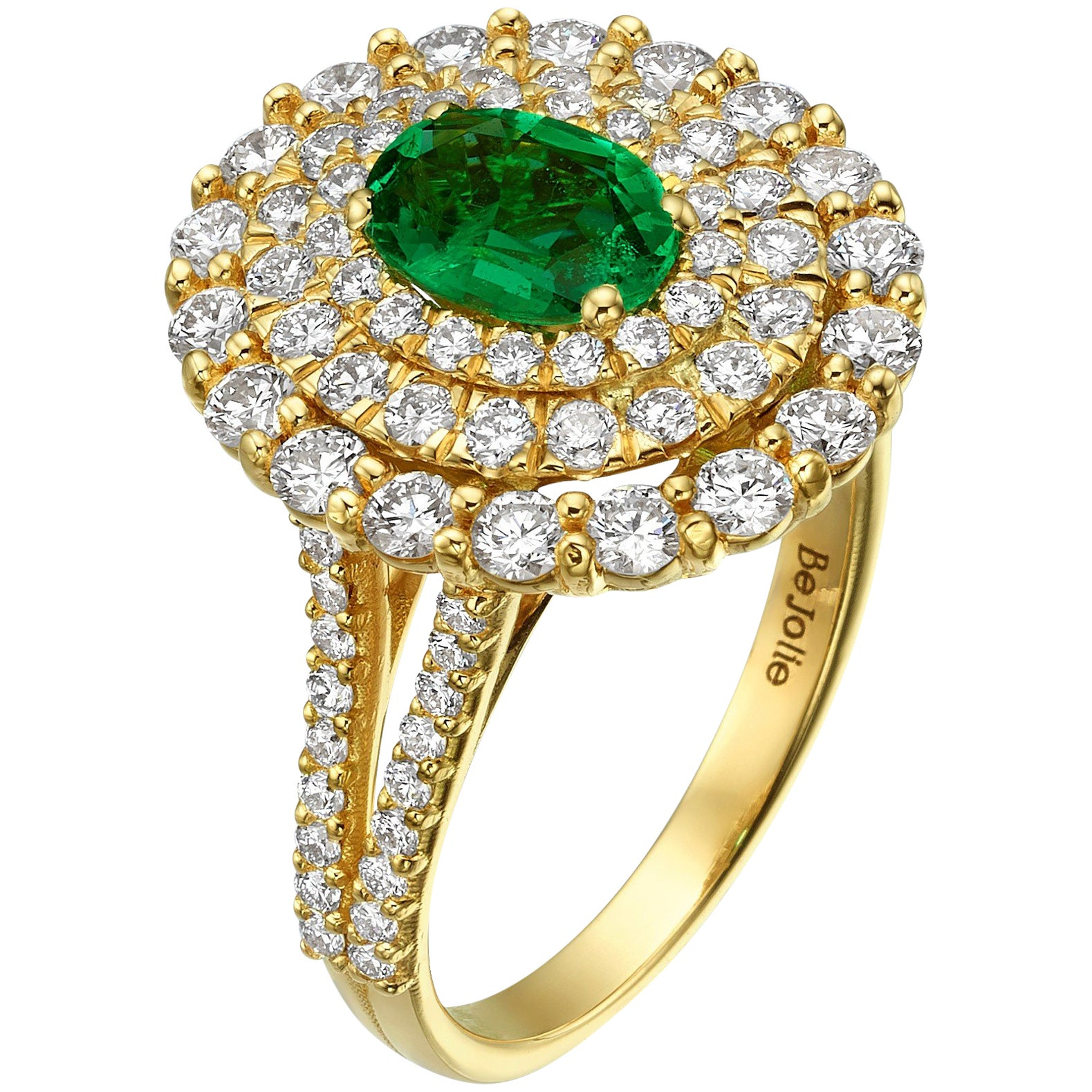 0.80 Carat Natural Emerald engagement Ring with triple Halo diamonds