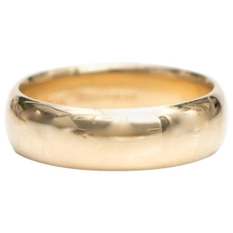 1950s Tiffany & Co. Classic Wedding Band Ring in 14 Karat Yellow Gold