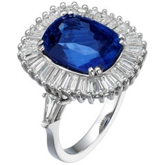 Ballerina Style 7.63 Carat Cushion Cut Blue Sapphire & Diamonds engagment ring.