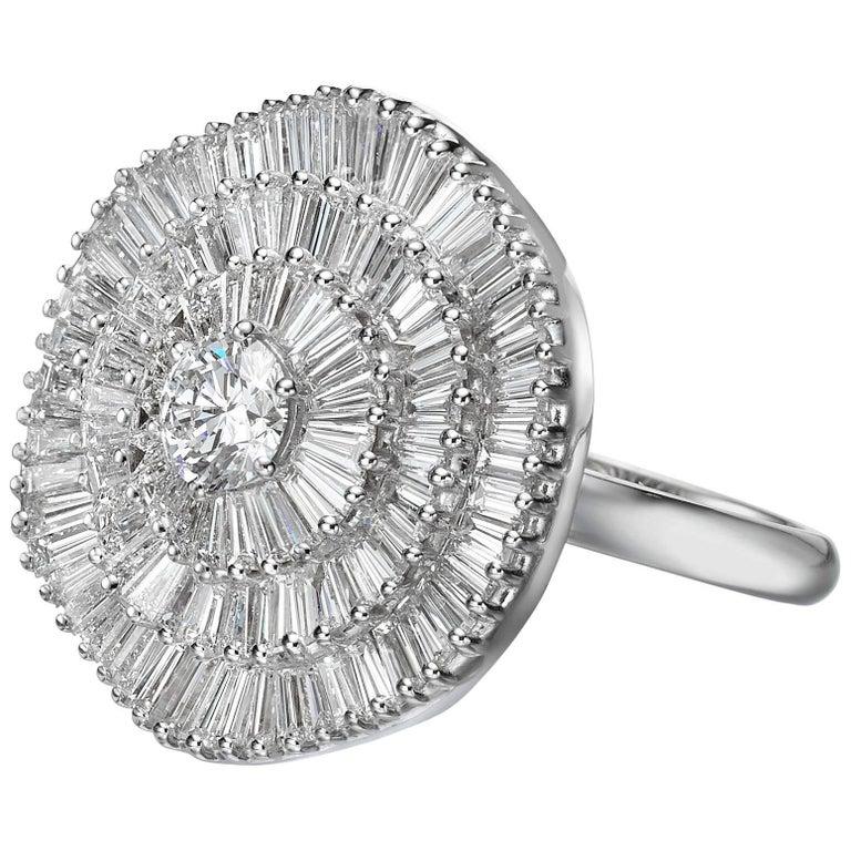 Ballerina Style Triple Halo Diamond Engagement Ring GIA Certified D / VS1