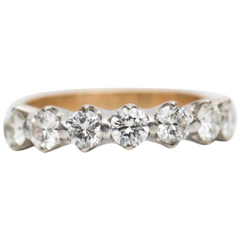 1950s 1.61 Carat Diamond Seven-Stone Wedding Band Ring
