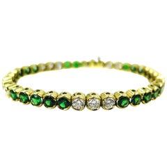 Tsavorite and Diamond Yellow Gold Tennis Bracelet