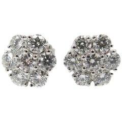 Diamond Cluster White Gold Stud Earrings
