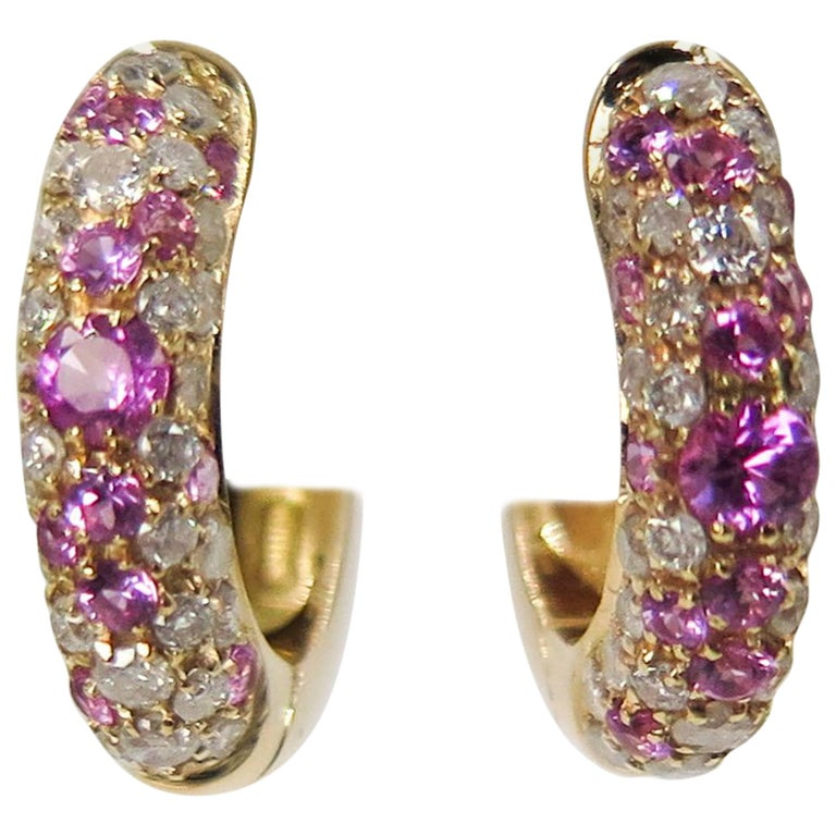 Pink Sapphire and Diamond Rose Gold Huggie Earrings