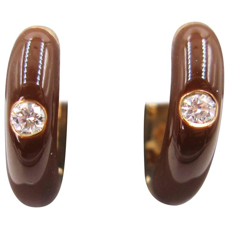 Chocolate Brown Enamel Diamond Yellow Gold Huggie Earrings