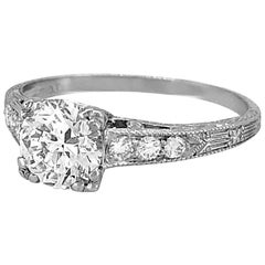1.01 Carat Diamond Antique Engagement Ring Platinum