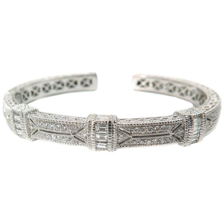 Judith Ripka, Pia, Diamond Pave White Gold Cuff Bracelet