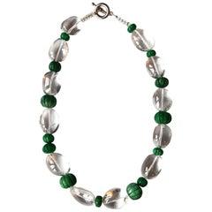 Rock Cristal Emerald Pumpkins Necklace