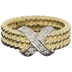 14 Karat Yellow Gold Three-Row Cable X Diamond Ring