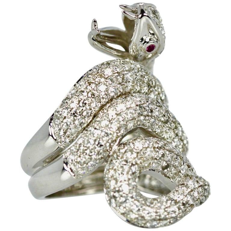 Diamond 18 Karat Snake Ring 4.66 Carat Two Ruby Eyes For Sale