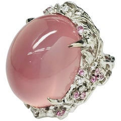 Matsuzaki 54ct Oval Cat's Eye Rose Quartz Sapphire Diamond K18WG Floral Ring