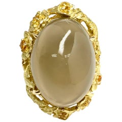 Matsuzaki 45 Carat Oval Moonstone Yellow Sapphire K18YG Floral Ring