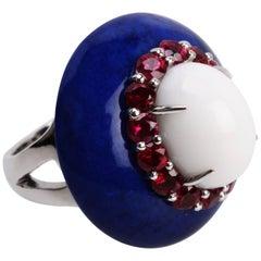 Lapis Agate  Ruby Capri Ring
