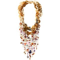 Bone Multi Fringe Gold Rainbow  Necklace