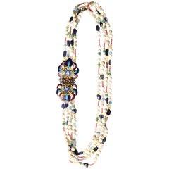 Uzbekistan Enamel Gold Long  Rainbow Necklace