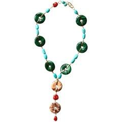 Malachite Turquoise Coral  Jasper Gold Necklace