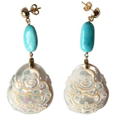 Gold Mother of Pearl Turquoise Earrings