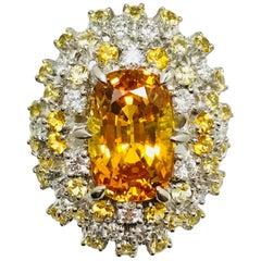 Matsuzaki 6.90 Carat Yellow Sapphire White Diamond Platinum Cluster Ring