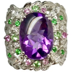 Matsuzaki Oval Amethyst Green Garnet Pink Sapphire Diamond White Gold Ring