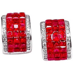 18K White gold invisible Small Ruby Hoop Earrings