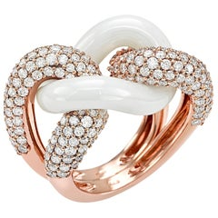 White Ceramic Groumette Ring 18 Karat Rose Gold and Diamonds