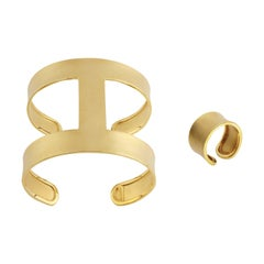 Youmna Fine Jewellery 18 Karat Yellow Gold Gladiator Classic Cuff and Ring Set