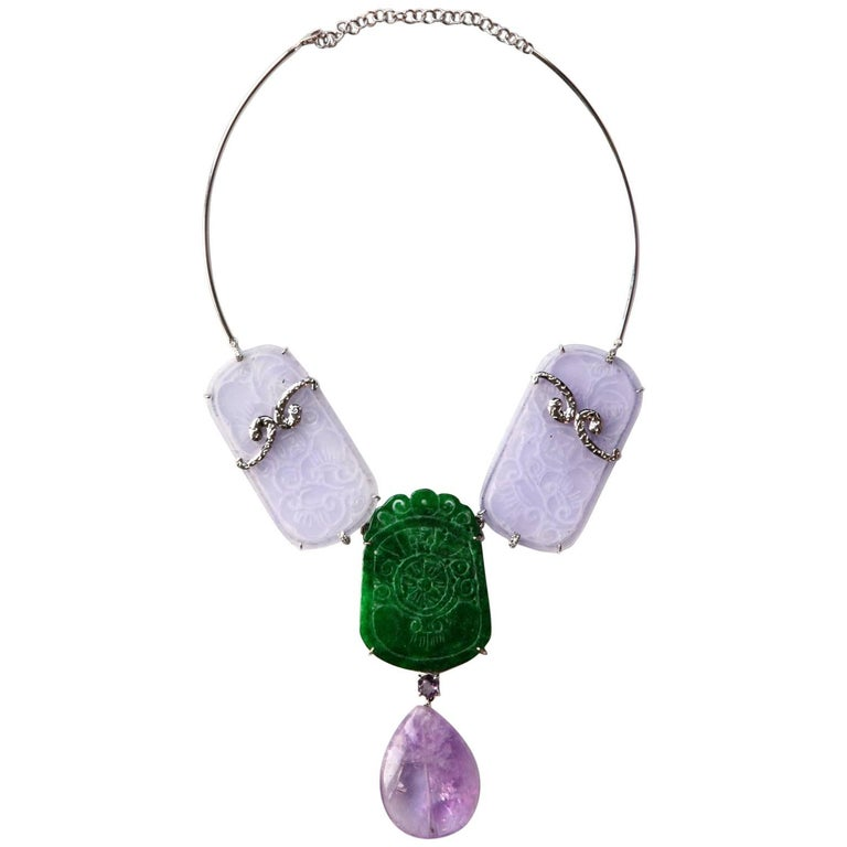 White Gold Carved Antiques Jade Amethyst Necklace