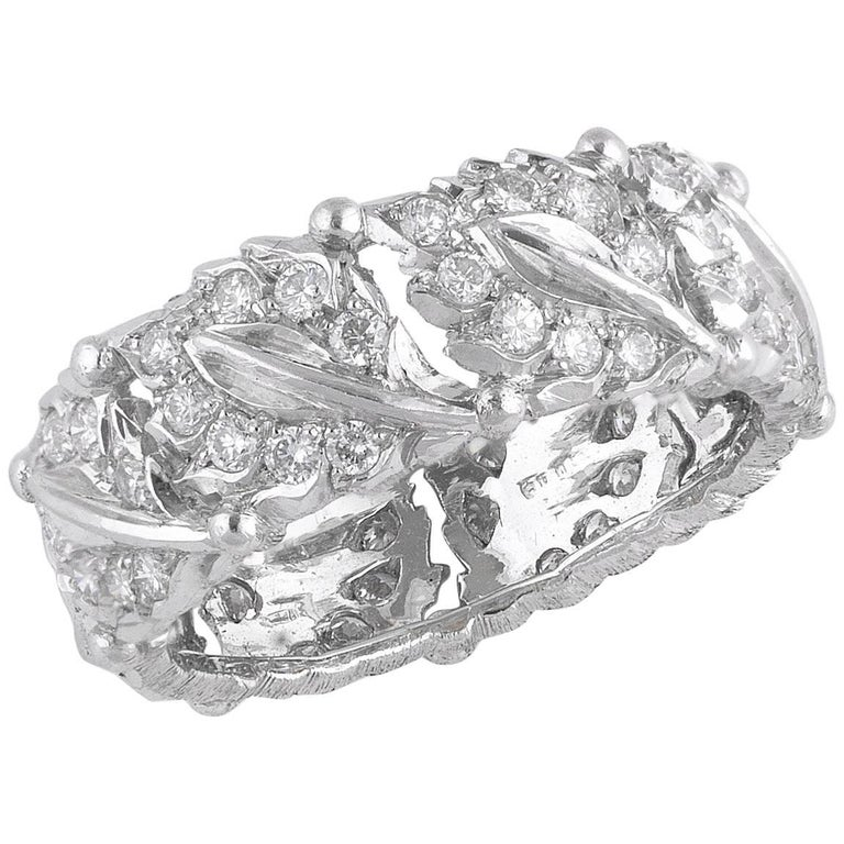 Buccellati White Gold and Cluster Diamonds Band Ring