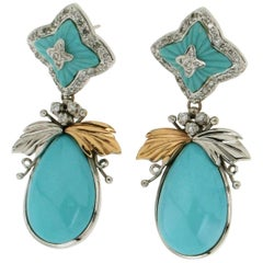 Gold Turquoise Diamonds Drop Earrings