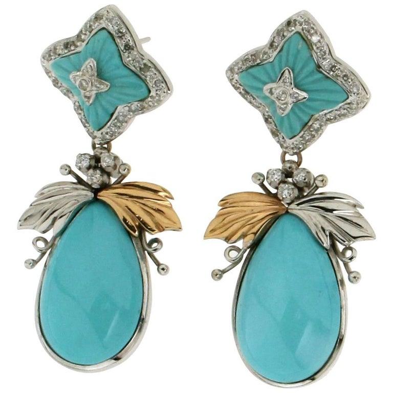 Gold Turquoise Diamonds Drop Earrings