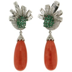 White Gold karat 18 kt  Diamonds Emeralds Coral Drop Earrings